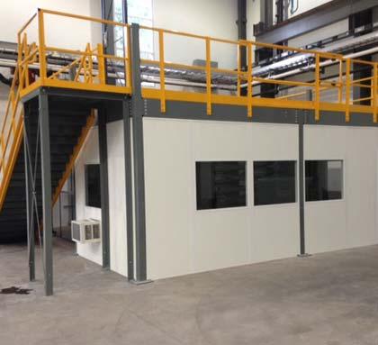 Office Under a Mezzanine | Panel Built