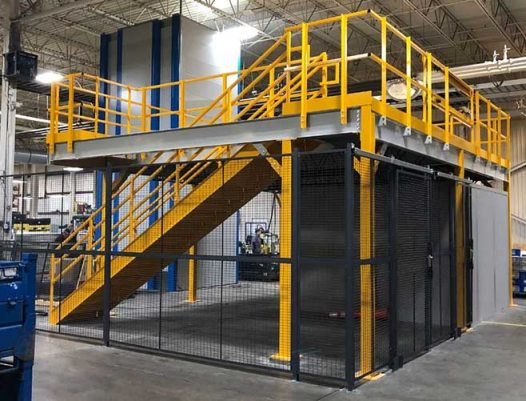 Mezzanine with wire partitions