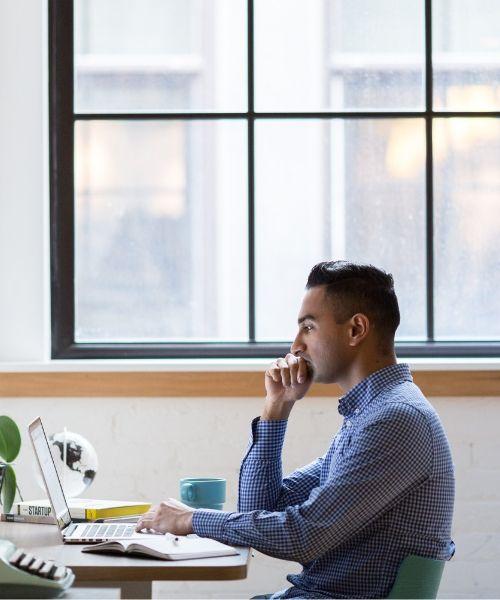 Focused Worker in Closed Office