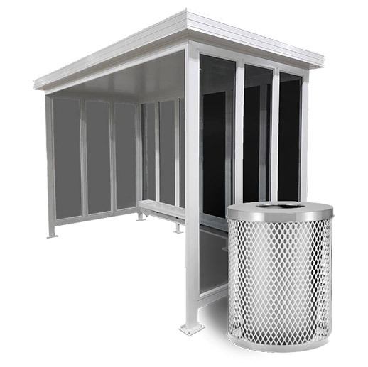 Metal Transit Shelter Waste Bin