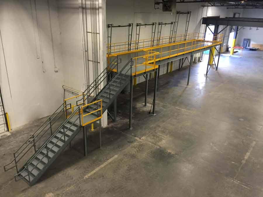 Steel mezzanines and work platforms panel built for Mezzanine guard rail